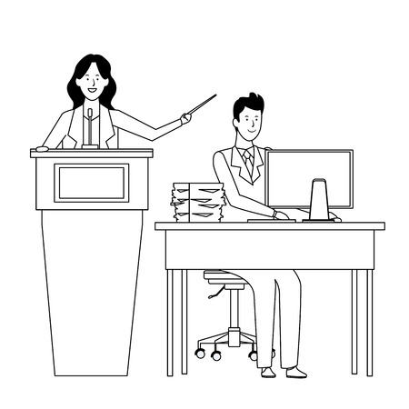 couple in a podium and office desk with a wand black and white vector illustration graphic design Stock Illustratie