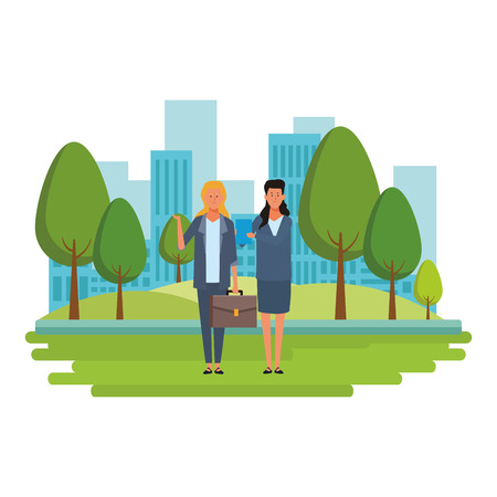 businesswomen avatar cartoon character with briefcase and documents folder in the park with cityscape vector illustration graphic design