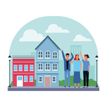 people avatar cartoon characters hands up thumb up wearing hat  in the neighborhood scenery vector illustration graphic design Vectores