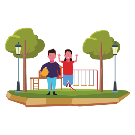 Two kids boy and girl with ball smiling cartoons in the park outdoors scenery vector illustration graphicdesign