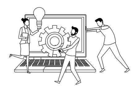 Coworkers teamwork with big idea gears and laptop cartoon vector illustration graphic design