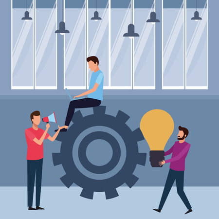Coworkers seated on big gear with laptop and big idea teamwork cartoon inside workplace office vector illustration graphic design