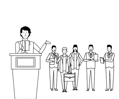 man in a podium with audience making a speech black and white vector illustration graphic design Stock Illustratie