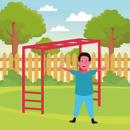 Boy smiling and playing with playground game in the park outdoors scenery vector illustration graphicdesign
