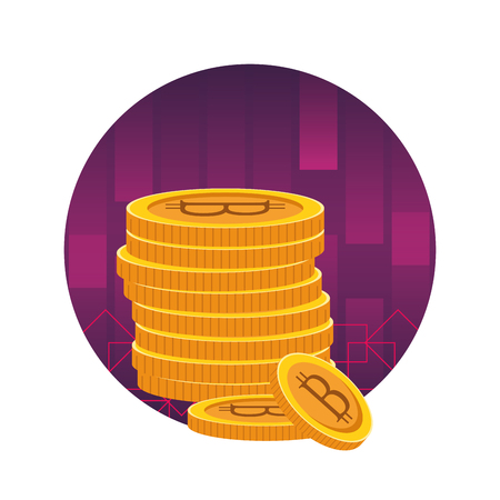 cryptocurrency tower bitcoin cartoon round icon vector illustration graphic design