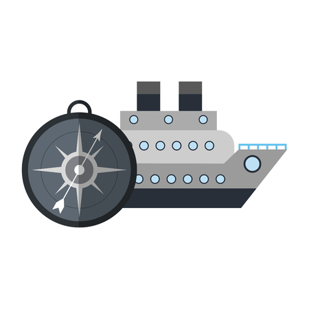 Cruiser ship with compass symbol vector illustration graphic design