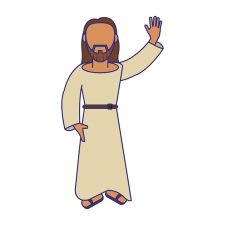 jesuschrist man greeting cartoon vector illustration graphic design Illustration