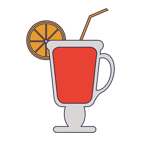 Cocktail with lemon and straw in cup vector illustration graphic design vector illustration graphic design Ilustração