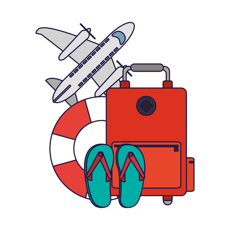 Vacations and travel luggage and sandals with float and airplane vector illustration graphic design vector illustration graphic design