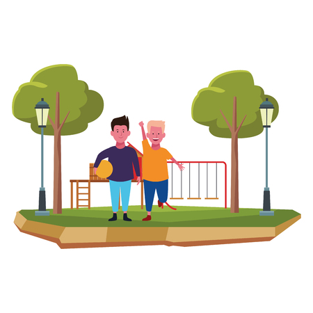 Two kids boys with ball smiling cartoons in the park outdoors scenery vector illustration graphicdesign
