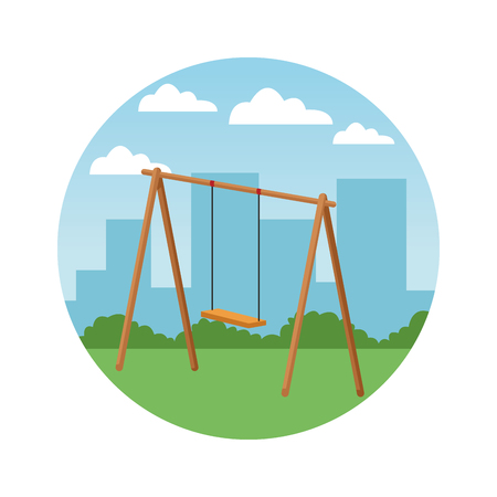 swing wooden playground game in the city park round icon vector illustration graphicdesign