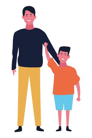 Familie alleinerziehender Vater und Sohn Vektor-Illustration Grafikdesign