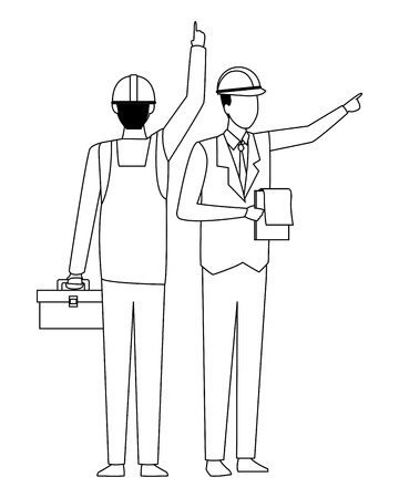 Construction teamwork avatar worker with toolbox backward and engineer with checklist vector illustration graphic design Иллюстрация