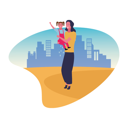 Single mother with kid daughter cartoon over cityscape scenery Vectores