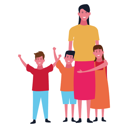 Family single mother with sons and daughter vector illustration graphic design Vektorgrafik