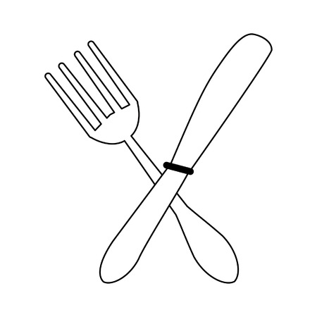 Cutlery fork and knife crossed symbol vector illustration graphic design 写真素材 - 120035519
