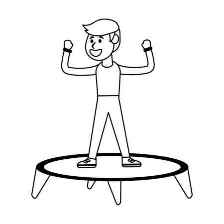 Athlete man jumping in trampoline vector illustration graphic design Illustration