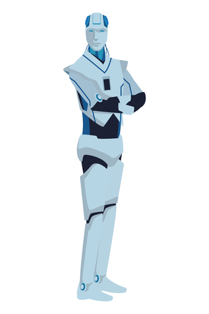 humanoid robot avatar cartoon character vector illustration graphic design Ilustrace