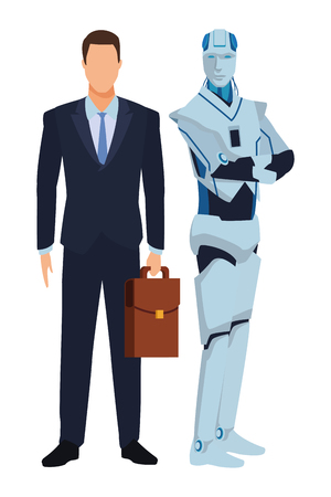 humanoid robot and businessman with briefcase avatar cartoon character vector illustration graphic design