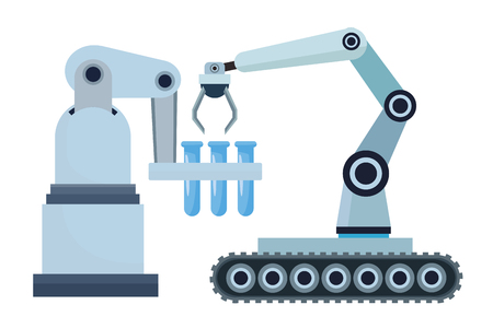 robotics arms mobil with test tubes cartoon icon vector illustration graphic design Illustration