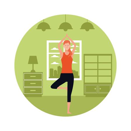 woman yoga pose avatar cartoon character indoor round icon vector illustration graphic design