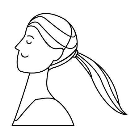 woman portrait avatar cartoon character with pony tail black and white vector illustration graphic design Standard-Bild - 120035636