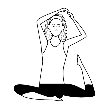 woman yoga pose avatar cartoon character black and white vector illustration graphic design