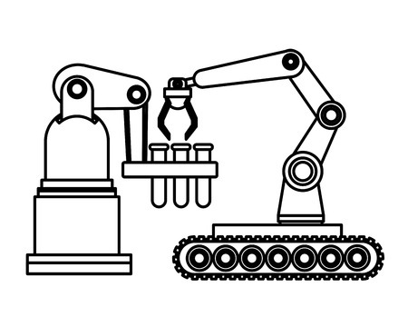 robotics arms mobil with test tubes cartoon icon black and white vector illustration graphic design