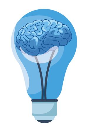 brain into a light bulb cartoon icon vector illustration graphic design