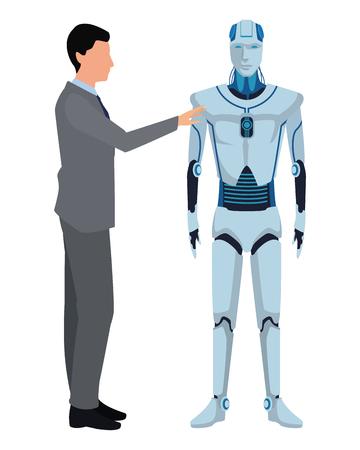 humanoid robot and businessman avatar cartoon character vector illustration graphic design