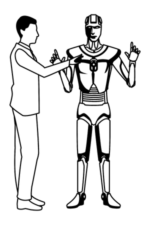 humanoid robot and businessman avatar cartoon character black and white vector illustration graphic design
