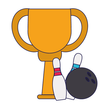 Bowling trophy cup championship vector illustration graphic design
