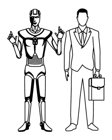 humanoid robot and businessman with briefcase avatar cartoon character black and white vector illustration graphic design Illustration