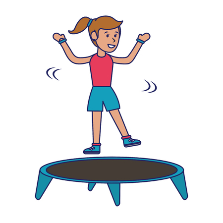 Athlete girl jumping in trampoline cartoon vector illustration graphic design Illustration