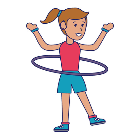 Woman with hula hoop cartoon vector illustration graphic design