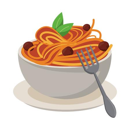 Spaghetti with bolognese italian food Çizim