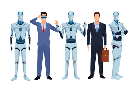 humanoid robot and businessmen wearing virtual reality headset and briefcase vector illustration graphic design