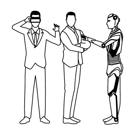 humanoid robot and businessmen wearing virtual reality headset black and white vector illustration graphic design