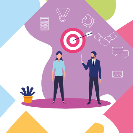 Business coworkers with symbols background cartoons vector illustration graphic design