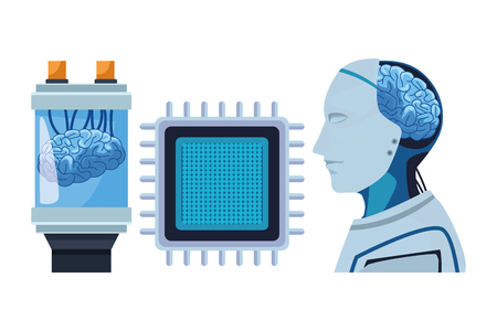 brain into a battery with microchip and robot with brain exposed cartoon icon vector illustration graphic design