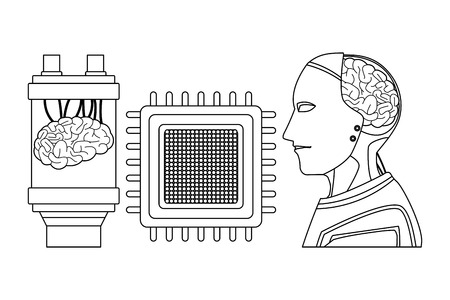 brain into a battery with microchip and robot with brain exposed cartoon icon black and white vector illustration graphic design Ilustração