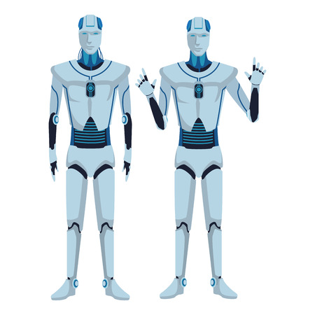 humanoid robots avatar cartoon character vector illustration graphic design Ilustrace