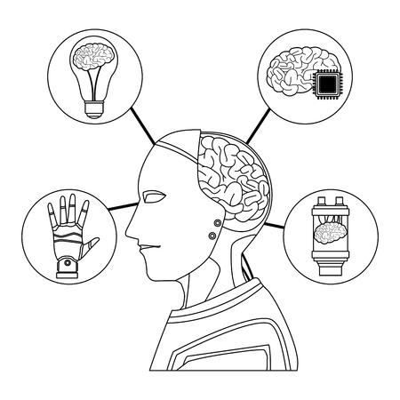 robot with brain exposed and light bulb microchip battery cartoon icon black and white vector illustration graphic design