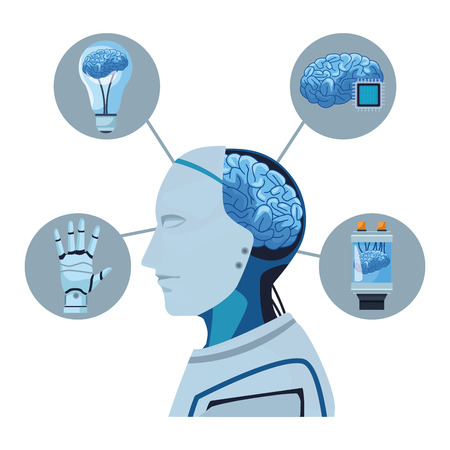 robot with brain exposed and light bulb microchip battery cartoon icon vector illustration graphic design Ilustração