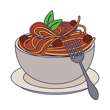 Spaghetti with bolognese italian food vector illustration graphic design Ilustração