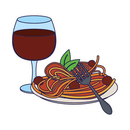 Goumet food with wine cup cartoon vector illustration graphic design