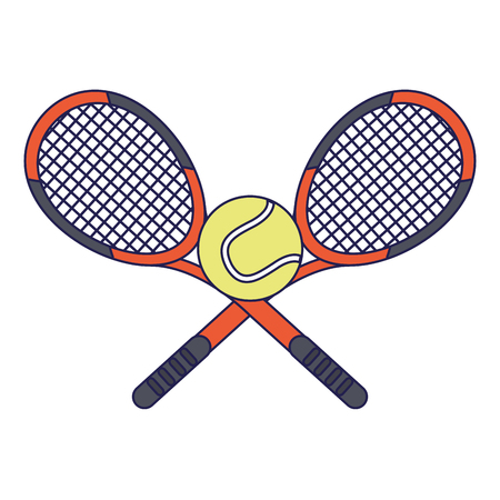 Tennis rackets and ball sport cartoon vector illustration graphic design