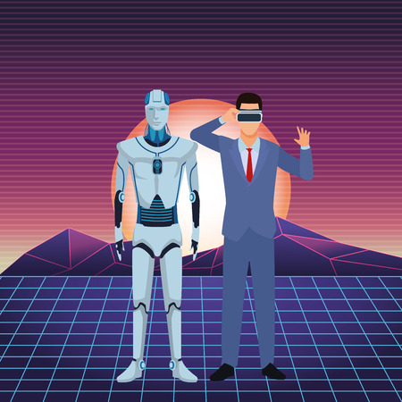 humanoid robot and businessman wearing virtual reality headset futuristic sunny landscape vector illustration graphic design