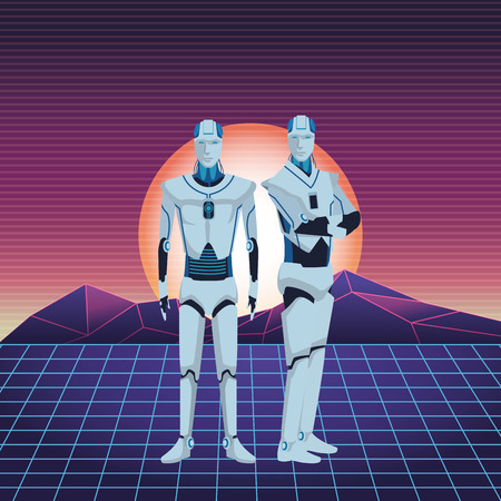 humanoid robots avatar cartoon character futuristic sunny landscape vector illustration graphic design Ilustrace