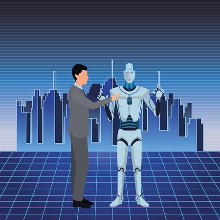 humanoid robot and businessman avatar cartoon character futuristic cityscape vector illustration graphic design